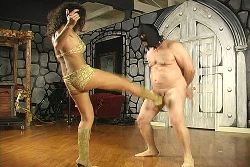 Brutal balls kicking sexy and strict femdom Mistress in tan sexy boots is ...